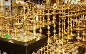 Brass lamps at Poompuhar